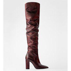 Zara Metallic Animal Print Over the Knee Boots